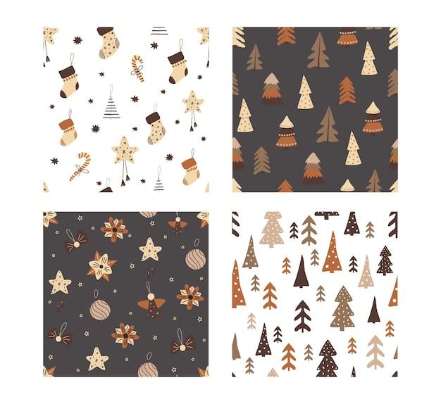 Conjunto de padrões de feliz natal brilhantes sem emenda. para papel de parede, tecido, pano de fundo, papel de embrulho