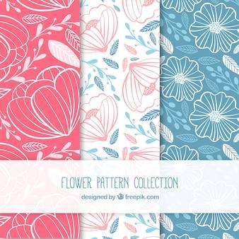 Conjunto de padrões de flores coloridas em estilo desenhado à mão