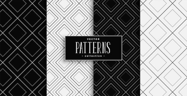 Conjunto de padrões de formas de diamante preto e branco