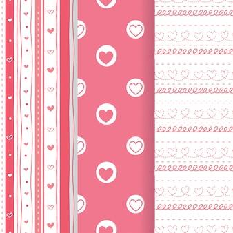 Conjunto de padrões de formas sem costura adorável coração rosa