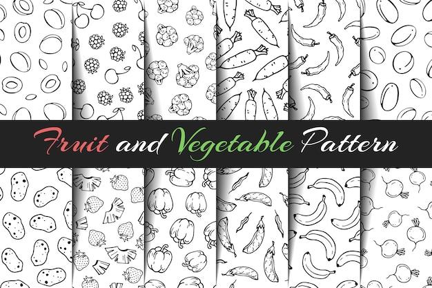 Conjunto de padrões de frutas e hortaliças de vetor.