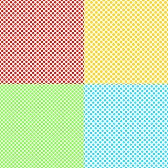 Conjunto de padrões de fundo de pontos sem costura de cores abstratas - gráficos vetoriais de círculos coloridos