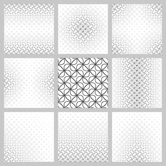 Conjunto de padrões de grade de elipse em preto e branco