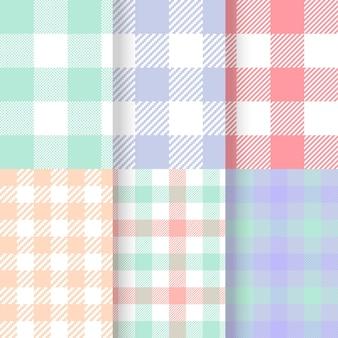 Conjunto de padrões de guingão pastel