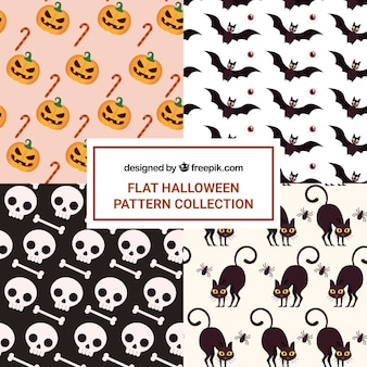 Conjunto de padrões de halloween com morcegos e outros elementos