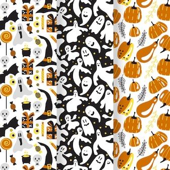Conjunto de padrões de halloween de design plano