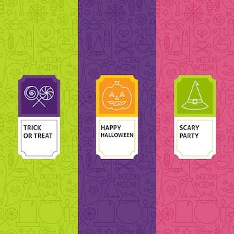 Conjunto de padrões de halloween de linha. ilustração em vetor de design de logotipo. modelo para embalagem com rótulos.