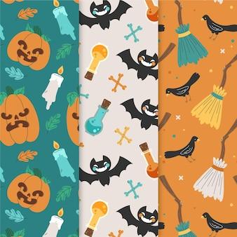 Conjunto de padrões de halloween desenhados à mão