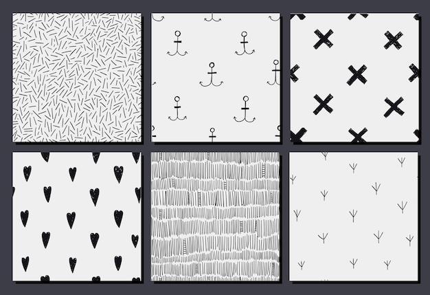 Conjunto de padrões de hipster de doodle desenhado de mão abstrata, texturas. desatado