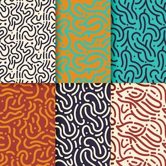 Conjunto de padrões de linhas arredondadas