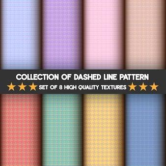 Conjunto de padrões de linhas tracejadas em cores pastel