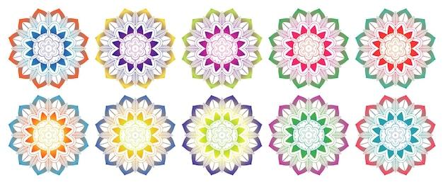 Conjunto de padrões de mandala em várias cores