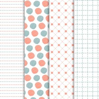Conjunto de padrões de mão desenhada em azul e coral