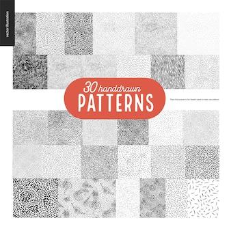 Conjunto de padrões de mão desenhada preto e branco 30