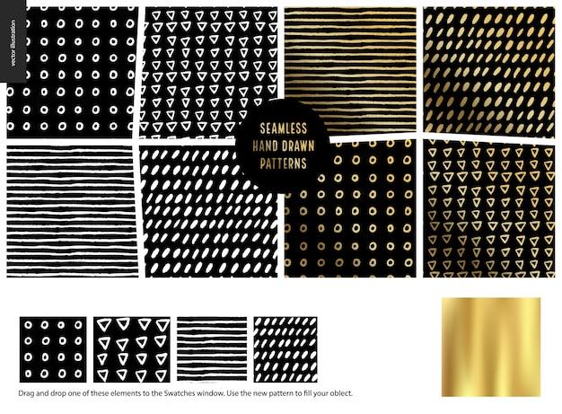 Conjunto de padrões de mão desenhada