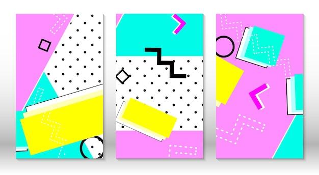 Conjunto de padrões de memphis. fundo colorido abstrato do divertimento. estilo moderno dos anos 80-90. elementos de memphis.