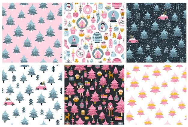 Conjunto de padrões de natal. coleção de fundos sem costura em cores rosa e azuis pastel. árvore de natal, personagens