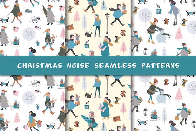Conjunto de padrões de natal com pessoas e presentes