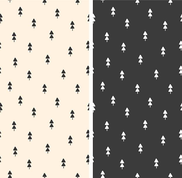 Conjunto de padrões de natal com repetição de ilustração vetorial de pinheiros