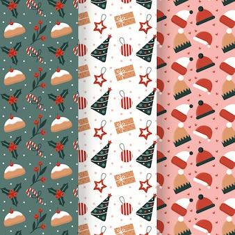 Conjunto de padrões de natal de design plano