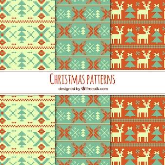 Conjunto de padrões de natal de ponto de cruz