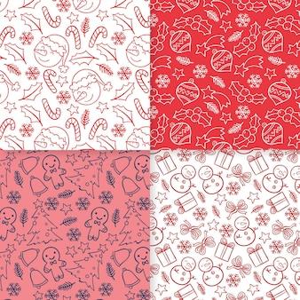 Conjunto de padrões de natal desenhado à mão