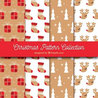 Conjunto de padrões de natal desenhados à mão vintage