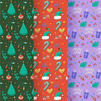 Conjunto de padrões de natal desenhados