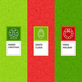 Conjunto de padrões de natal em linha. ilustração em vetor de design de logotipo. modelo para embalagem com rótulos.