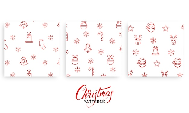Conjunto de padrões de natal para presentes, papel de presente