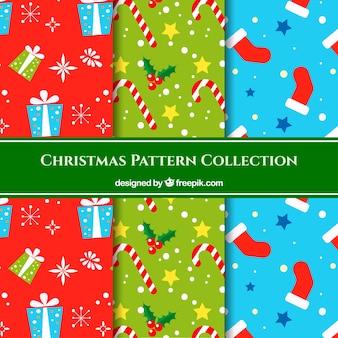 Conjunto de padrões de objetos de natal