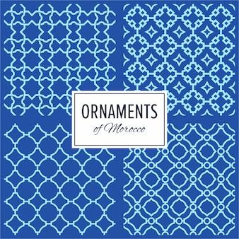 Conjunto de padrões de ornamento sem costura do mar da margem oriental