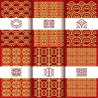Conjunto de padrões de ornamento tradicional chinês vetor oriental