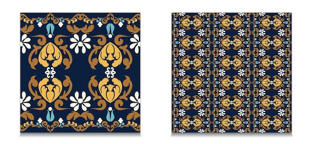 Conjunto de padrões de ornamentos vintage sem costura padrões florais de fundo de vetor azul amarelo