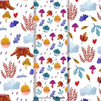 Conjunto de padrões de outono em aquarela