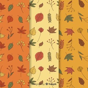 Conjunto de padrões de outono mão desenhada estilo