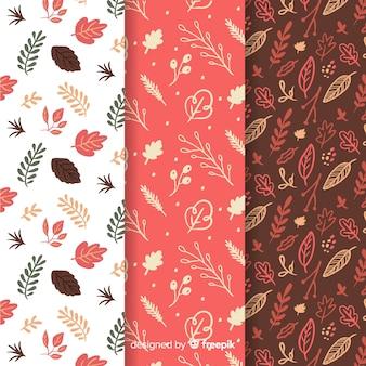 Conjunto de padrões de outono mão desenhada