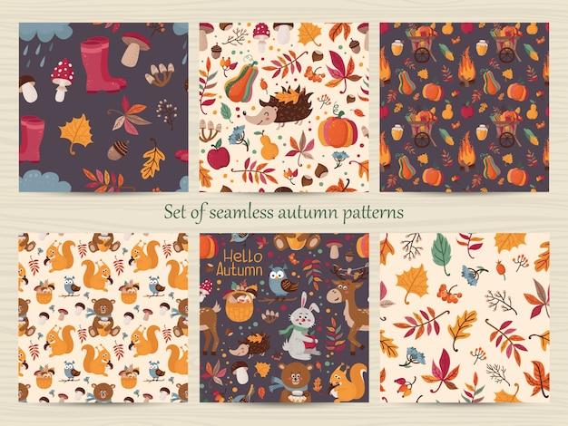 Conjunto de padrões de outono sem costura