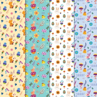 Conjunto de padrões de páscoa fofo