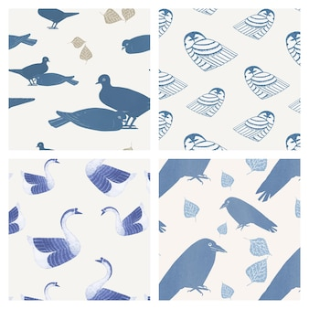 Conjunto de padrões de pássaros vintage, remix de obras de arte de samuel jessurun de mesquita