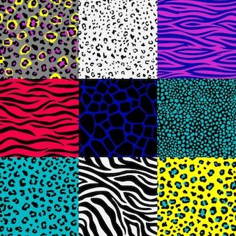 Conjunto de padrões de pele de animal.