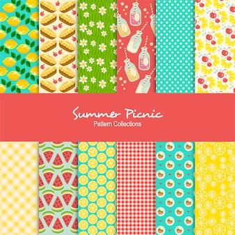 Conjunto de padrões de piquenique de verão