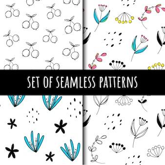 Conjunto de padrões de plantas sem costura