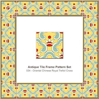 Conjunto de padrões de quadros de azulejos antigos cruz oriental chinês real trevo