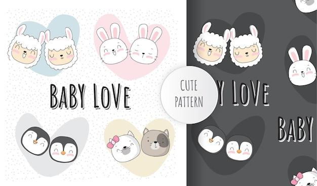 Conjunto de padrões de rosto de animal lindo e lindo bebê plano