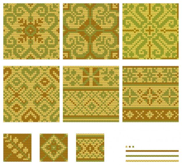 Conjunto de padrões de tricô de flores do mar báltico