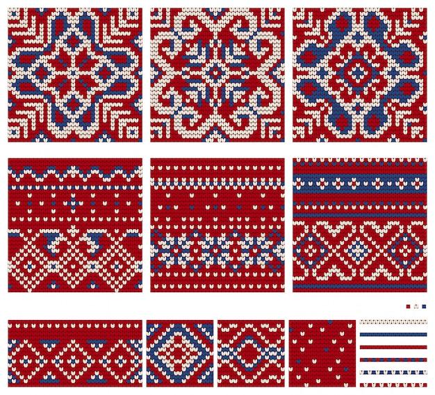 Conjunto de padrões de tricô estrela norueguesa, padrões sem emenda de vetores