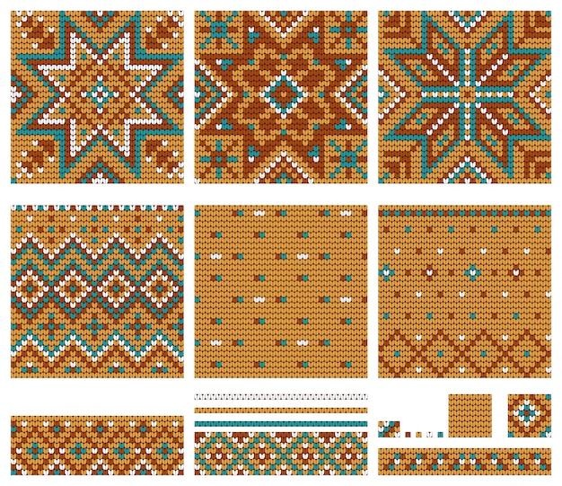 Conjunto de padrões de tricô estrela norueguesa
