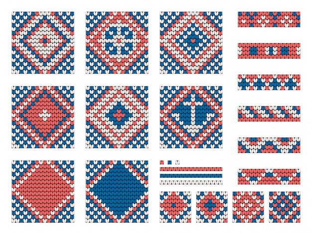 Conjunto de padrões de tricô marinho avó
