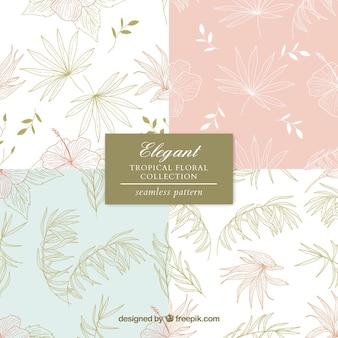Conjunto de padrões de verão com elementos de praia na mão desenhada estilo